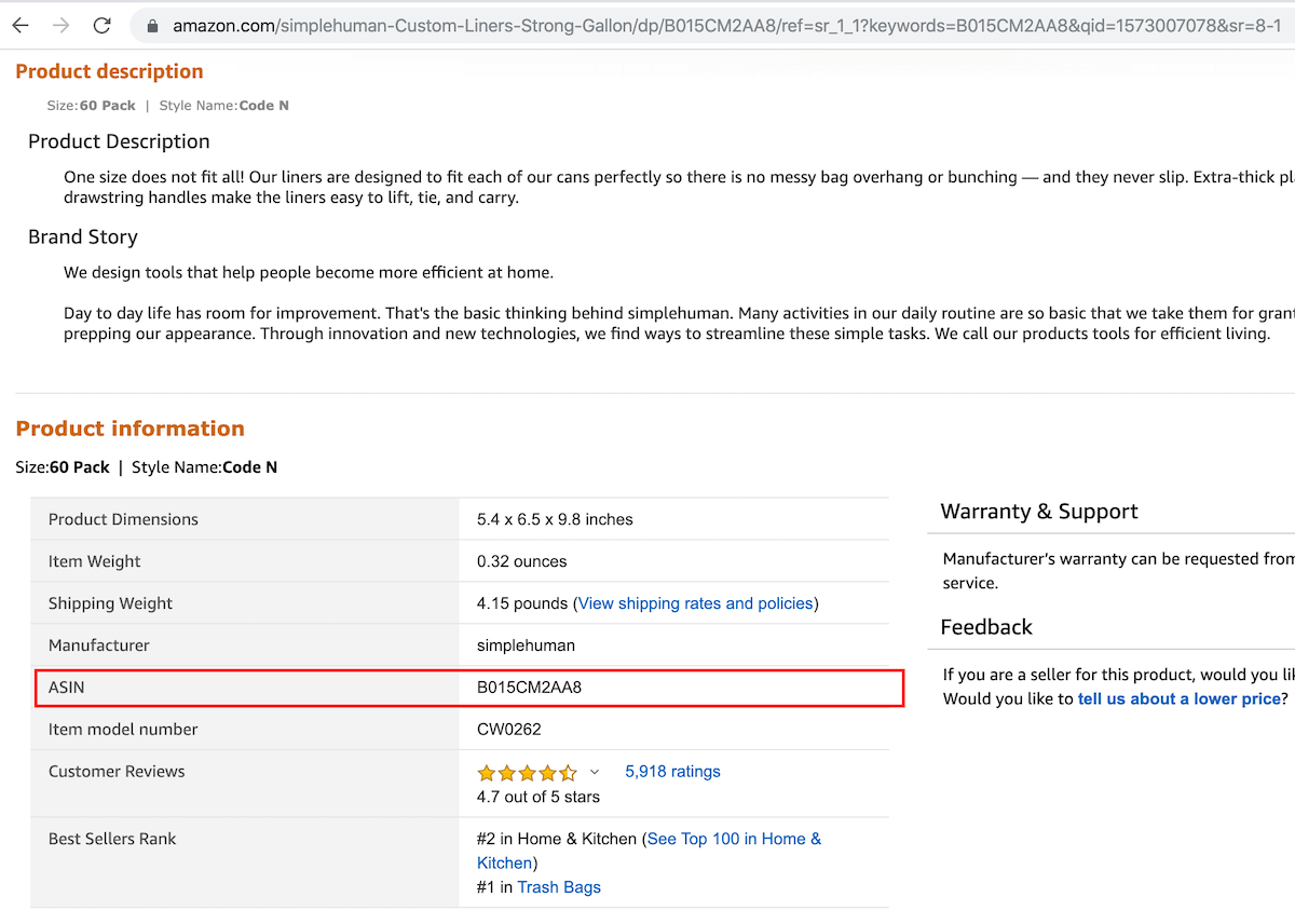 How to find ASIN on Amazon product details page