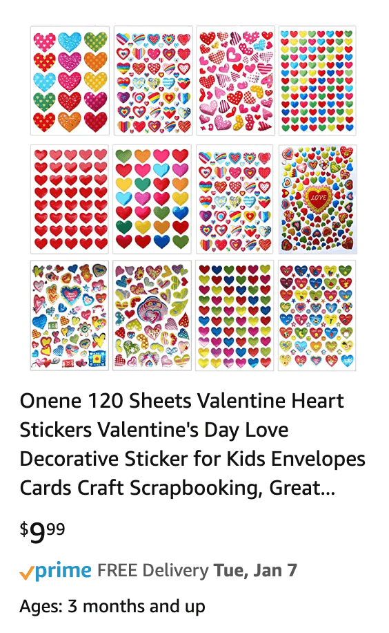 Valentines day 120 sheets heart stickers
