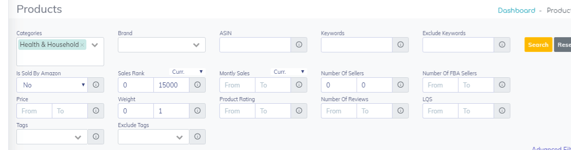 Products Filter on ProfitGuru